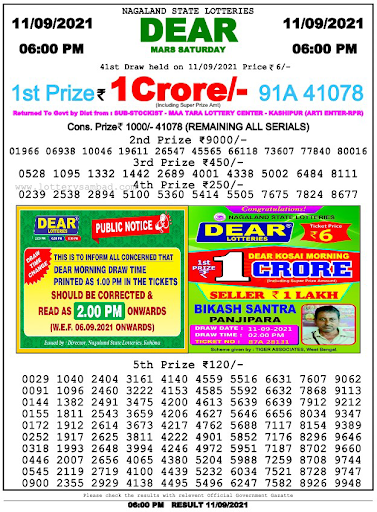 Nagaland State Lottery Result Today 6pm