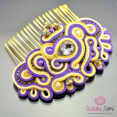 Purple Soutache Hair Comb by Ozdoby Ziemi