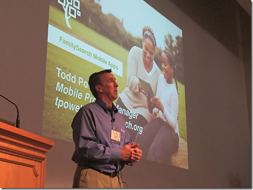 "Todd Powell presented the topic, ""FamilySearch Mobile Tree App"" at the 2016 BYU Conference on Family History and Genealogy."