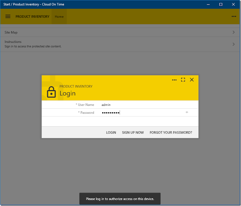 Entering credentials to add a cloud in native Universal Windows Platform app Cloud On Time.
