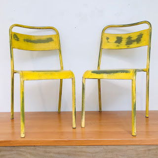 French Bistro Style Metal Chair Pair #1