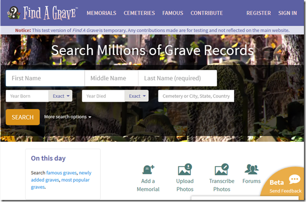 The new Find A Grave home page appearance