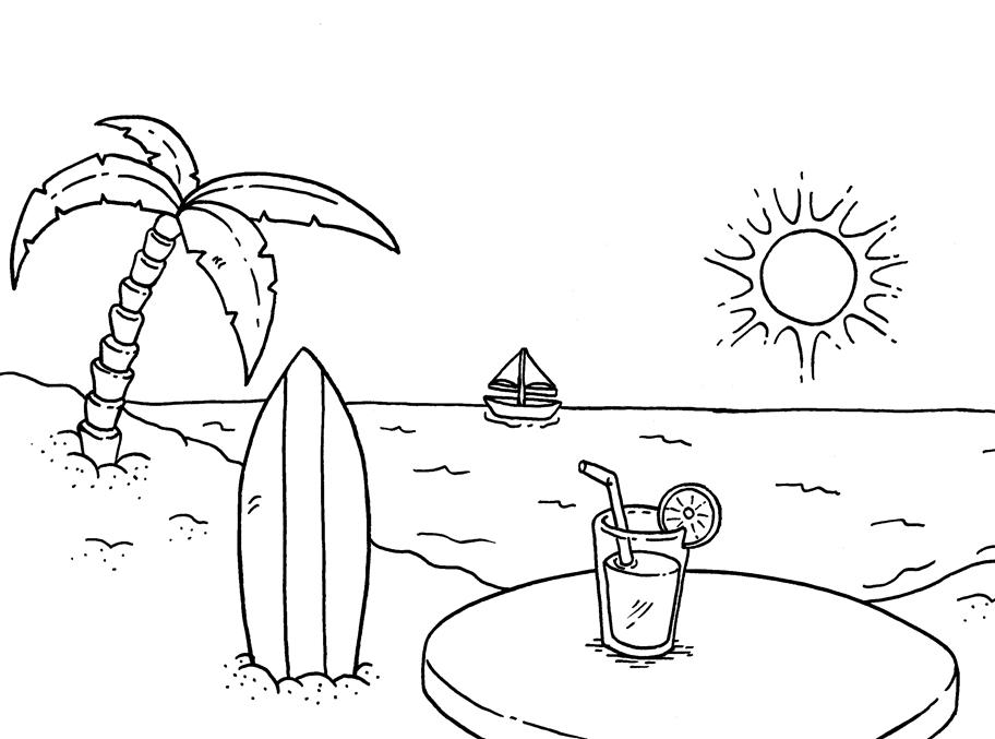 mewarnai gambar pemandangan alam seri pantai