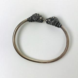 Sterling Silver Lion Head Cuff Bracelet