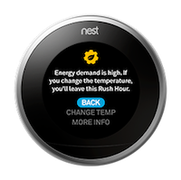 Nest thermostat rush hour screen