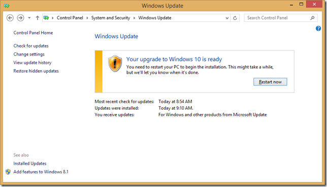 Windows Update in Control Panel, prompting to restart