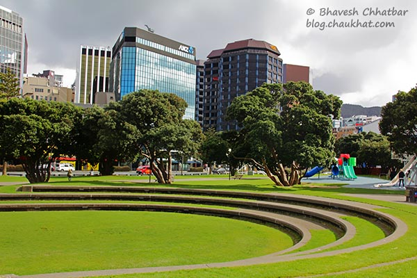 Frank Kitts Park and the CBD of Wellington [New Zealand]