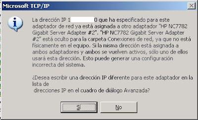 Error dirección IP ya existe, usada por adaptador oculto