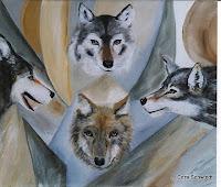 """Elemente - Erde: Wölfe"", Öl auf Leinwand, 56x48, 2003"