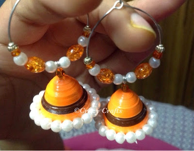 Bright quilled handmade earrings-clear view