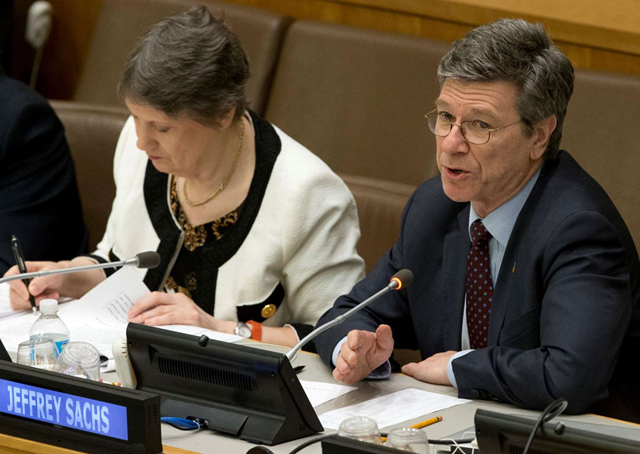 Economist Jeffrey Sachs of Columbia University's Earth Institute. He is one of 300 economists who signed a letter to world leaders on 9 May 2016 urging world leaders to end the era of tax havens. Photo: Mary Altaffer / AP Photo