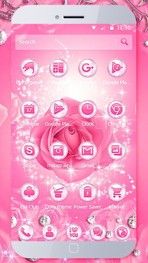 Diamond Pink Rose Theme  screenshots 3
