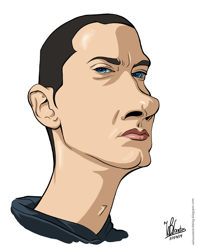 Cartoon caricature of Eminem, using Krita.