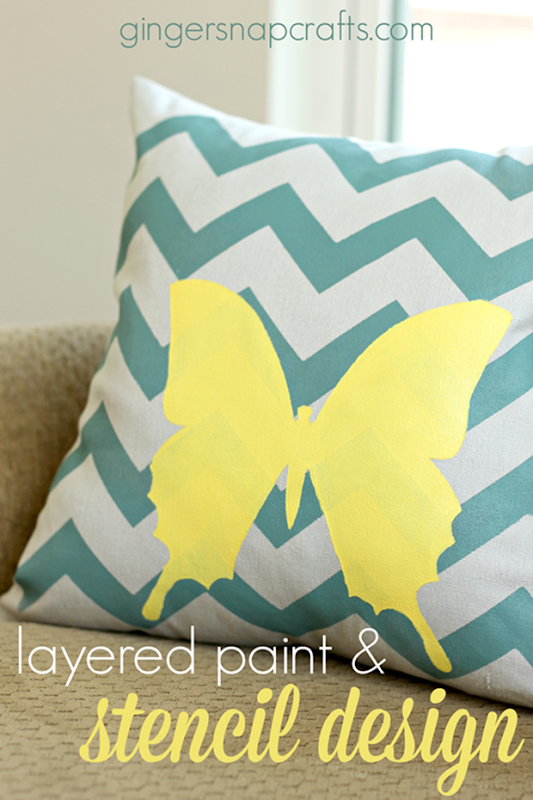 Layered Paint & Stencil Design Tutorial at GingerSnapCrafts.com #tulipforyourhome #ilovetocreate #paints #stencils _thumb[2]