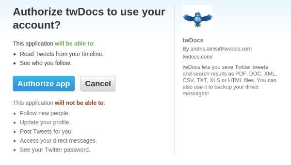 authorize twdocs to tweet