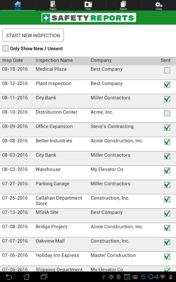 Safety Reports Inspection App- screenshot