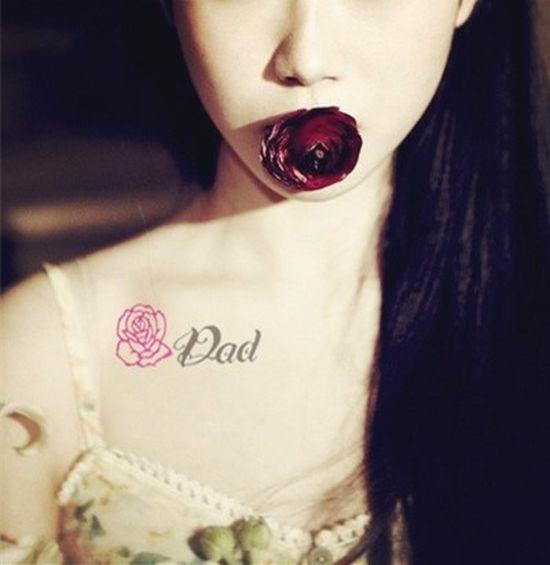 o_dia_do_pai_rose_clavcula_desenho_de_tatuagem