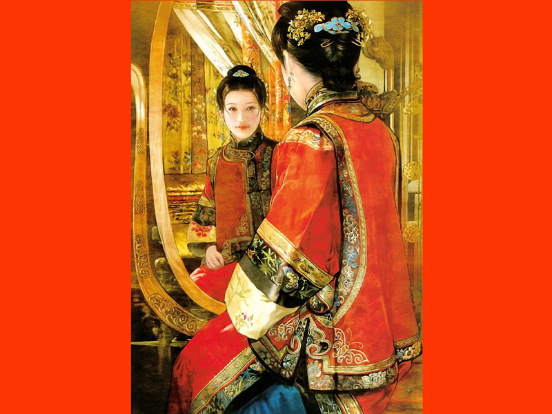 Red Samurai And Mirror, Magic Samurai Beauties