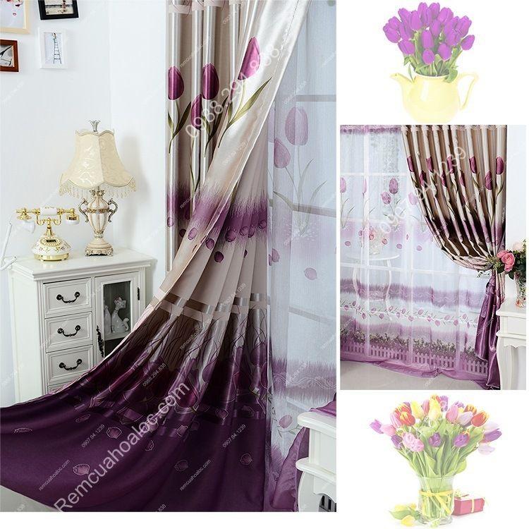 Rèm cửa giá rẻ hà nội họa tiết hoa tulip  14