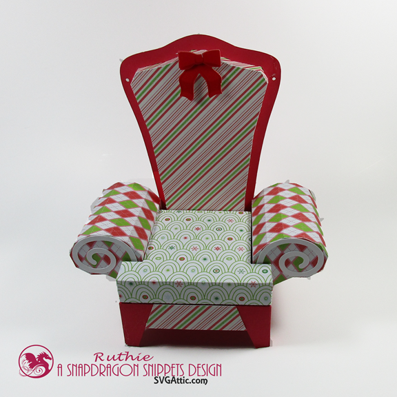 Santa 3D arm chair box - SnapDragon Snippets - Gift Card Box - Ruthie Lopez - My Hobby My Art 3