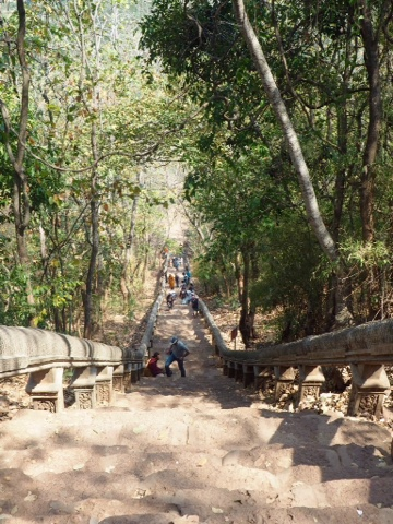 Looking down the staircase from Phnom Banan temple to the south of Battambang, Cambodia