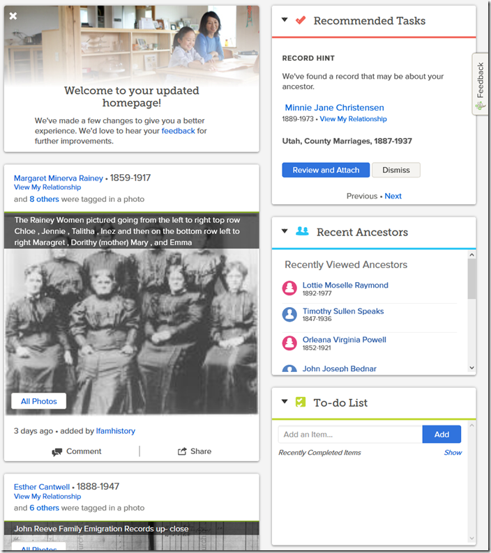 FamilySearch Experimental, Personalized Home Page