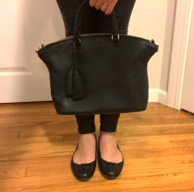 Tory Burch Thea Bag, Tory Burch bag, faux leather leggings, Tory Burch Lowell Flats