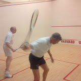 Robert Loring and Bruce Merrifield get ready for their match