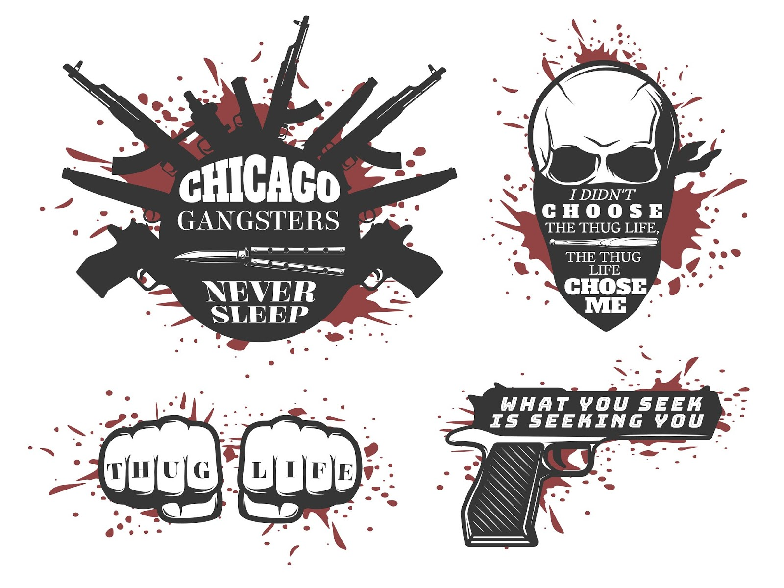 Chicago Gangster Quotes Set Free Download Vector CDR, AI, EPS and PNG Formats