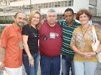 Alguns colaboradores da RENAS: Clemir (ISER), Débora (AEBVB), Ailton (Ministério JEAME), Welinton (Visão Mundial) e Klênia (Editora UItimato).