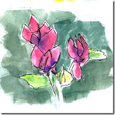simple watercolour wash & pen sketch of flowers