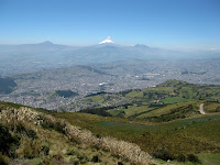Quito from above - Cotapaxi Volcano in the distance