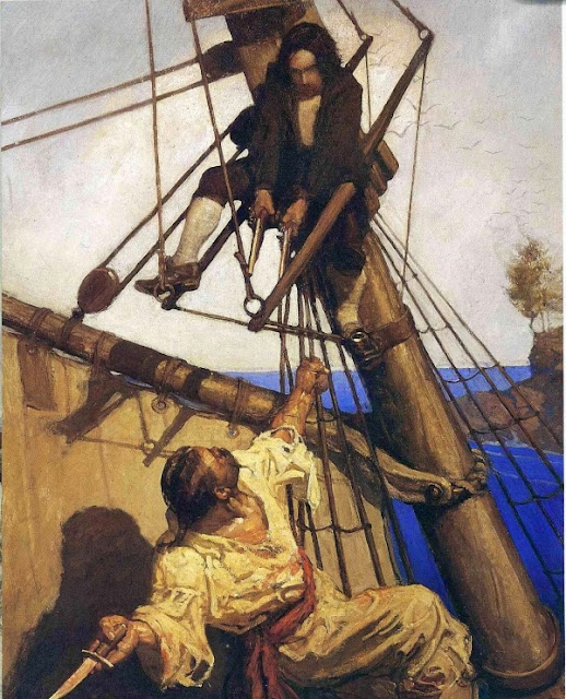 N. C. Wyeth - Treasure Island. One More Step, Mr. Hands, said I, And I'll Blow Your Brains Out