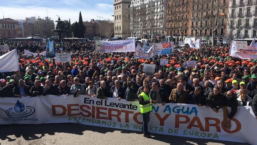 Los regantes cifran en 50.000 las personas que acuden a la manifestación
