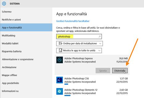 disinstallare-applicazioni-windows10
