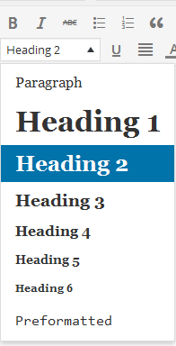 heading format in wordpress