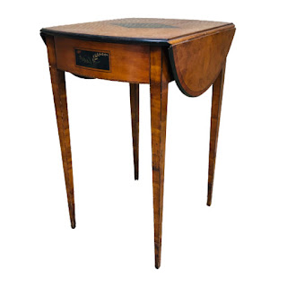 Hand-Painted & Inlaid Burl Top Pembroke Table