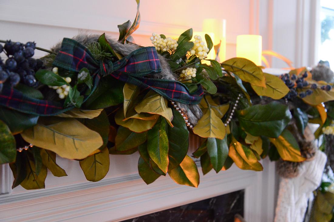 traditional christmas mantel, magnolia garland, christmas mantle