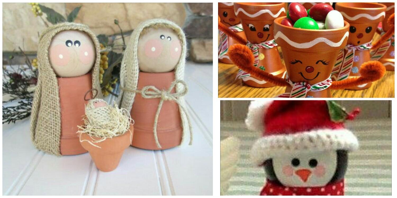 Manualidades Con Tiestos De Barro.Adornos De Navidad Con Macetas De Barro