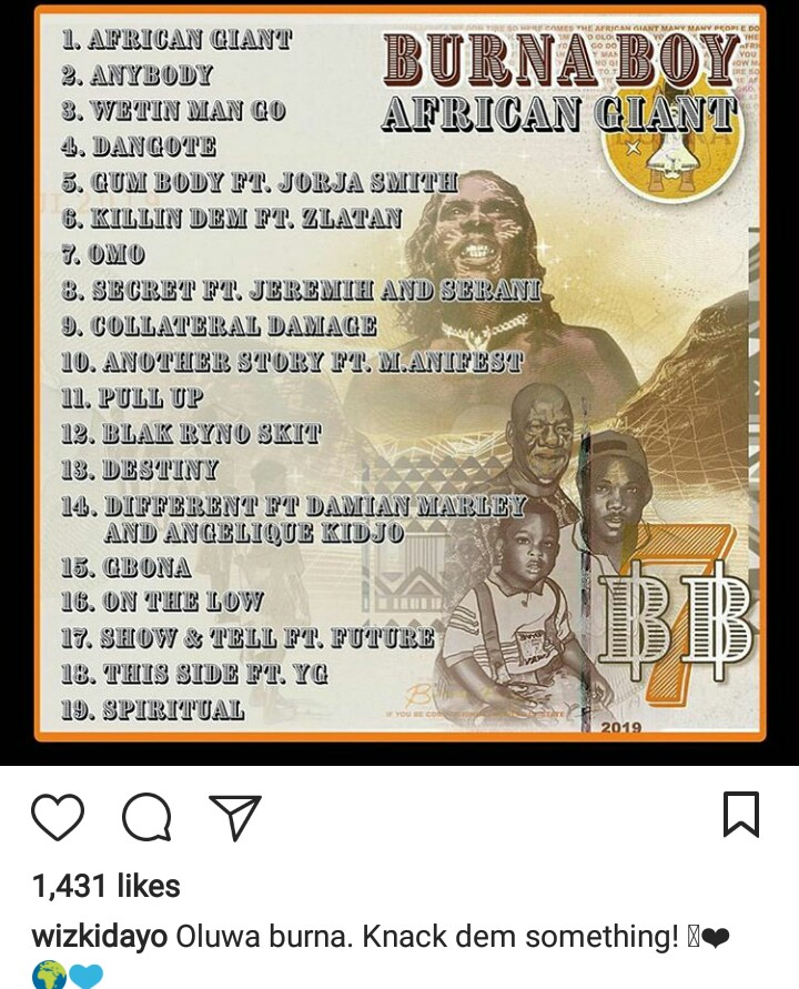 "Burnaboy finally set to release his new album title ""African Giant"". Burnaboy, Wizkid and other Nigerian artiste share the album cover online with caption."