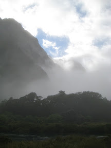 Fog-covered mountains on the way to Milford Sound