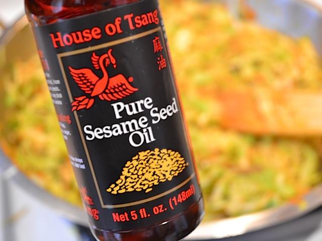 close up of a jar of sesame oil