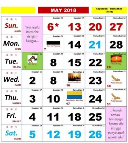 Kalendar Kuda Mei 2018