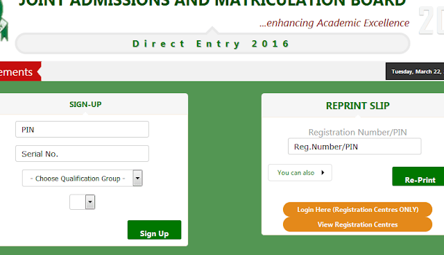 Step by step to register JAMB Direct Entry 2017/2018