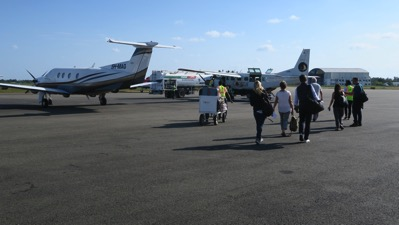 Walking to the plane