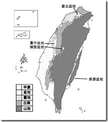 臺灣地形分布圖_黑白_盆地