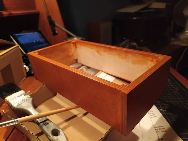 Finished stained wood synth case