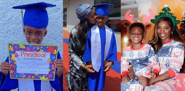 Tiwa Savage's Son Jamil Gives Heart-melting Speech As He Graduates From Pre-school [Video]