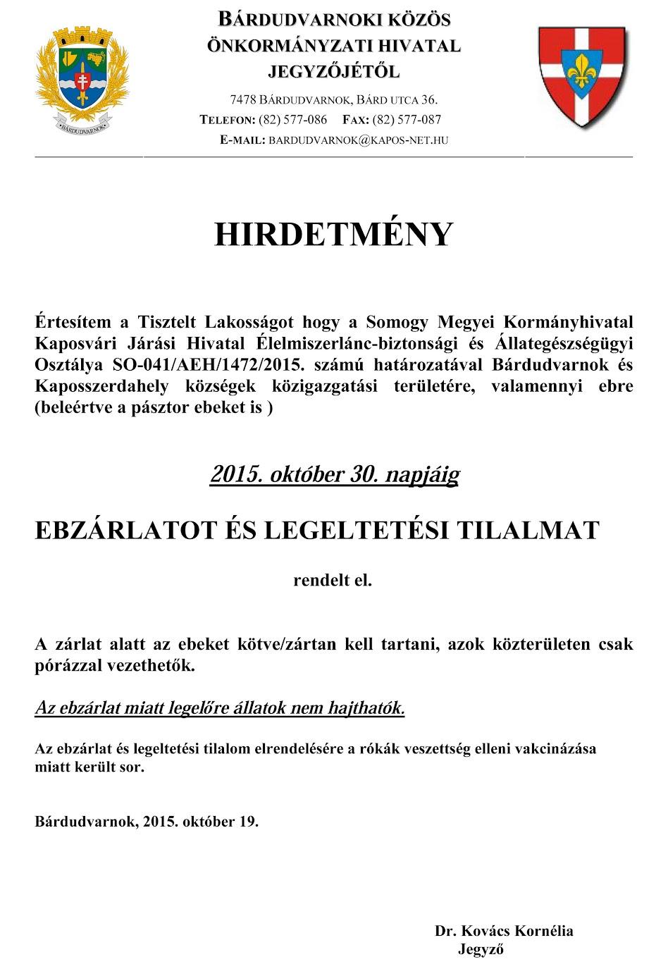 Ebzárlat Kaposszerdahely és Bárdudvarnok