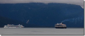 Cruise Ship from Skagway meets Cruise Ship from Haines